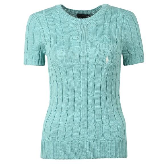 Polo Ralph Lauren Womens Green Cable Knit Short Sleeve T Shirt