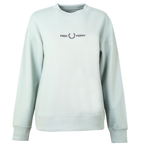 Fred Perry Womens Blue Embroidered Centre Logo Sweatshirt