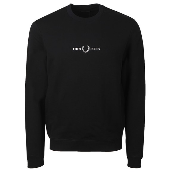 Fred Perry Mens Black Graphic Sweatshirt