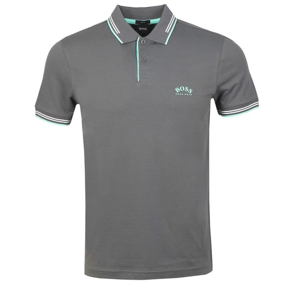 BOSS Mens Grey Athleisure Paul Curved Polo Shirt