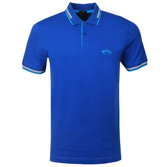 BOSS Mens Blue Athleisure Paul Curved Polo Shirt