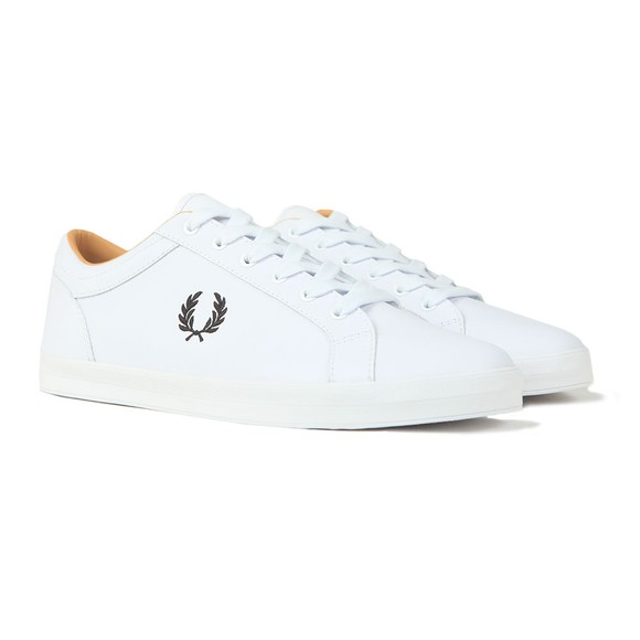 Fred Perry Mens White Baseline Leather Trainer