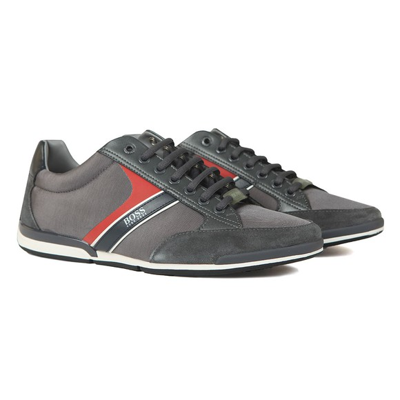 BOSS Mens Grey Saturn Lowp Mix Trainer