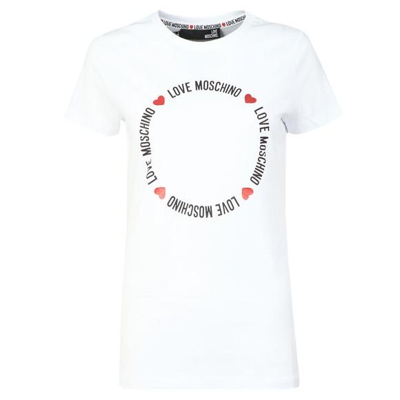 Love Moschino Womens White Circle Logo T-Shirt main image