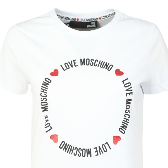 Love Moschino Womens White Circle Logo T-Shirt