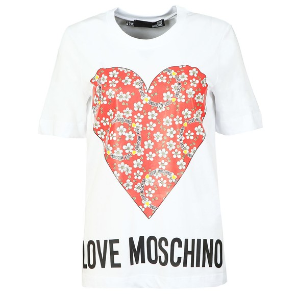 Love Moschino Womens White Floral Heart T Shirt