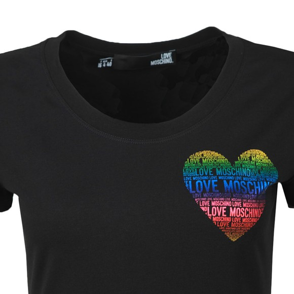 Love Moschino Womens Black Rainbow Heart T Shirt