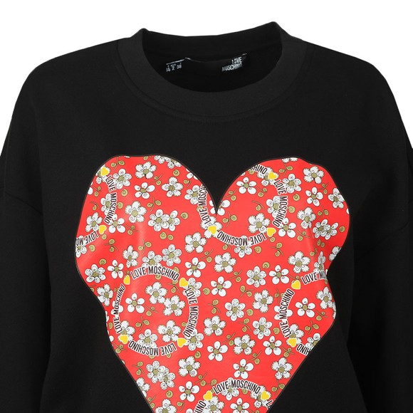 Love Moschino Womens Black Flower Heart Sweatshirt