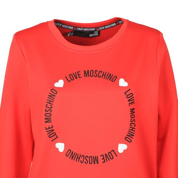 Love Moschino Womens Red Circle Logo Sweatshirt