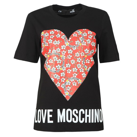 Love Moschino Womens Black Floral Heart T Shirt