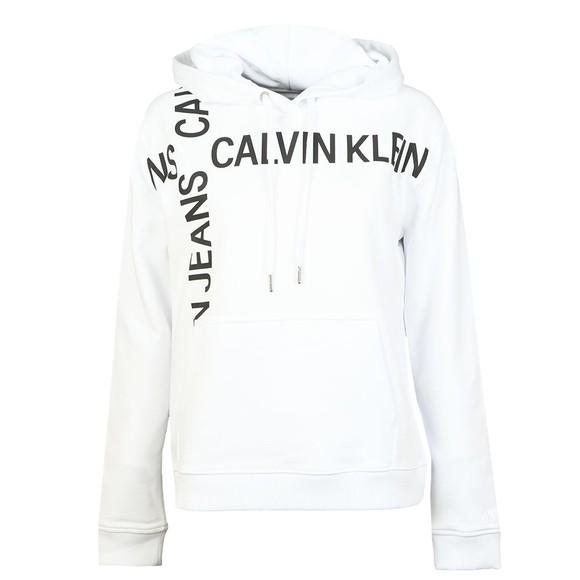 Calvin Klein Jeans Womens White Grid Logo Boxy Hoody