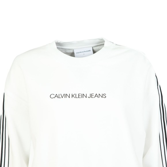 Calvin Klein Jeans Womens White Stripe Tape Cropped Sweatshirt