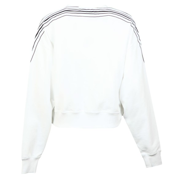 Calvin Klein Jeans Womens White Stripe Tape Cropped Sweatshirt main image