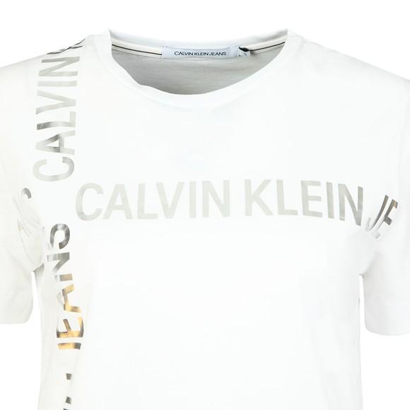 Calvin Klein Jeans Womens White Grid Logo T Shirt main image
