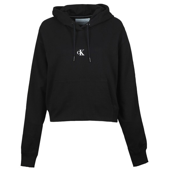 Calvin Klein Jeans Womens Black Puff Print Cropped Hoody