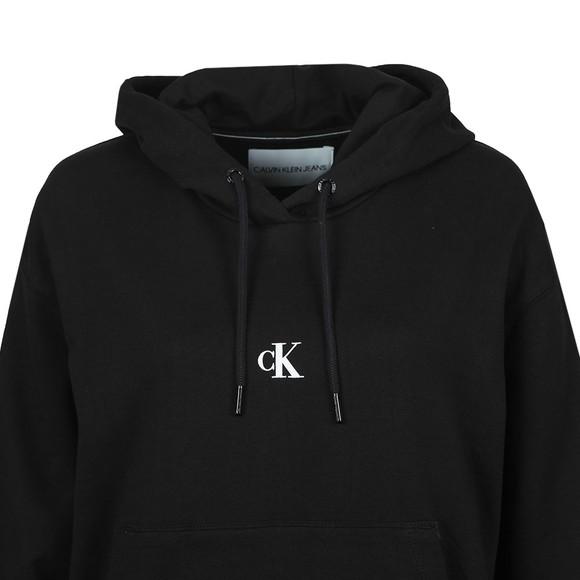 Calvin Klein Jeans Womens Black Puff Print Cropped Hoody