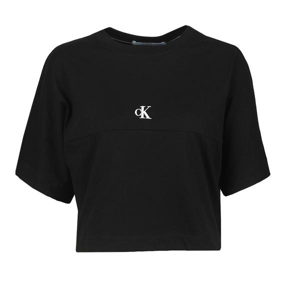 Calvin Klein Jeans Womens Black Puff Print Back Logo T-Shirt