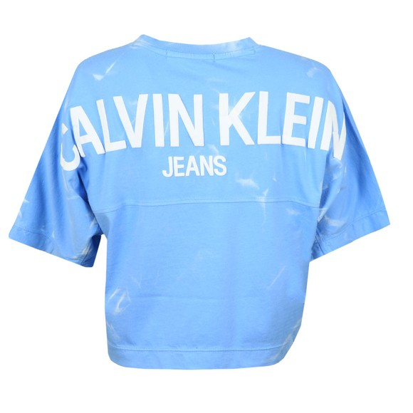 Calvin Klein Jeans Womens Blue Lava Dyed Cropped T Shirt main image