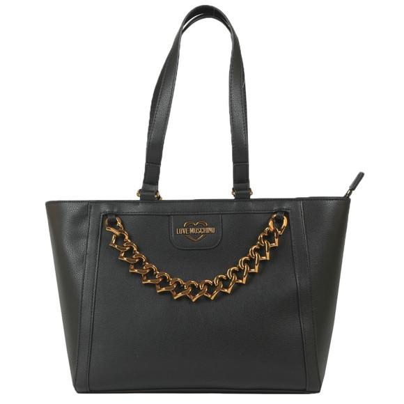 Love Moschino Womens Black Small Logo Grain Bag
