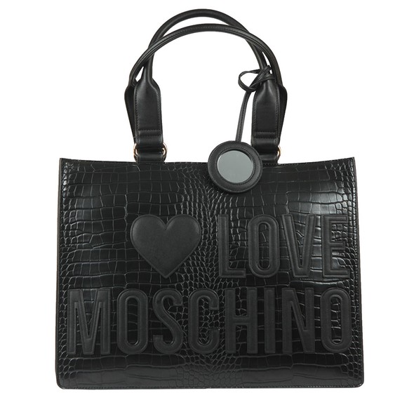 Love Moschino Womens Black Large Logo Croco Shopper Bag