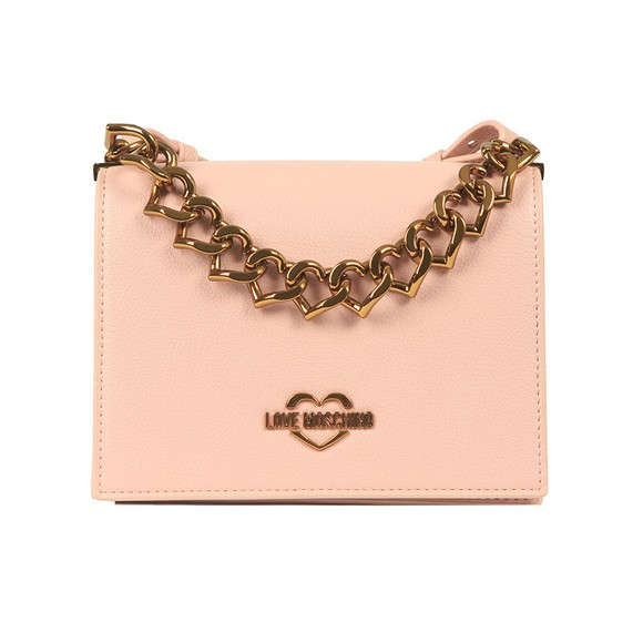 Love Moschino Womens Pink Small Logo Grain Small Bag