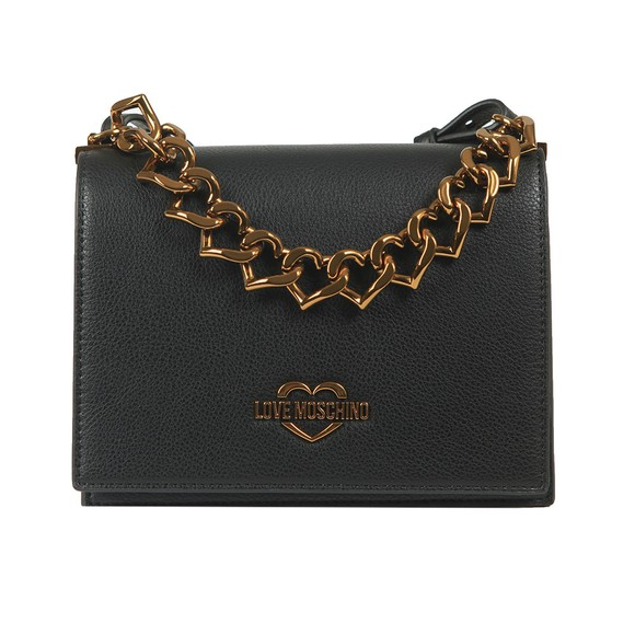 Love Moschino Womens Black Small Logo Grain Small Bag