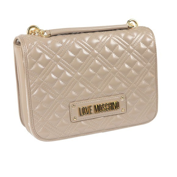 Love Moschino Womens Grey Cross Quilted Small Bag