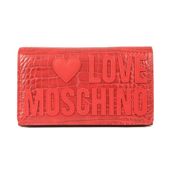 Love Moschino Womens Red Croco Clutch Bag