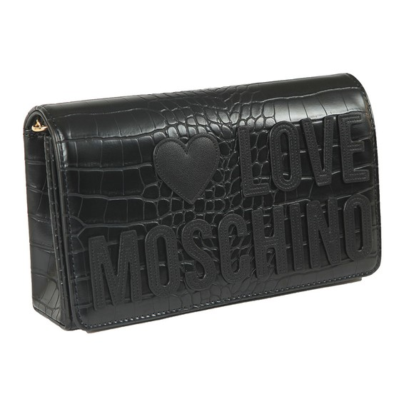 Love Moschino Womens Black Croco Clutch Bag