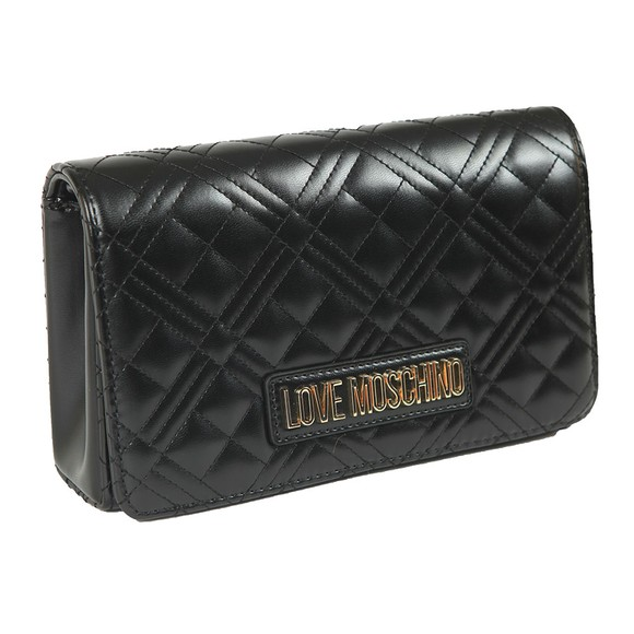 Love Moschino Womens Black Cross Quilted Clutch