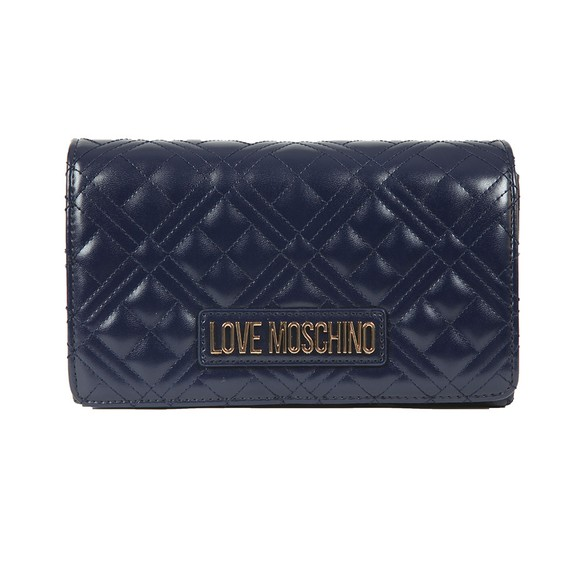 Love Moschino Womens Blue Cross Quilted Clutch