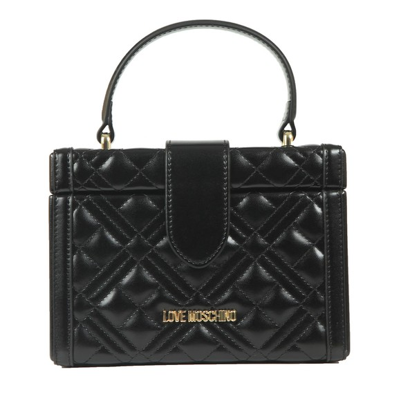 Love Moschino Womens Black Cross Quilted Small Shoulder Bag