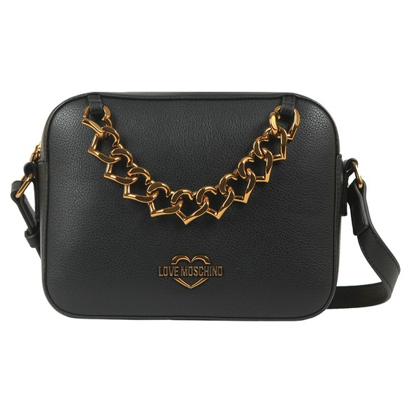 Love Moschino Womens Black Small Logo Grain Shoulder Bag