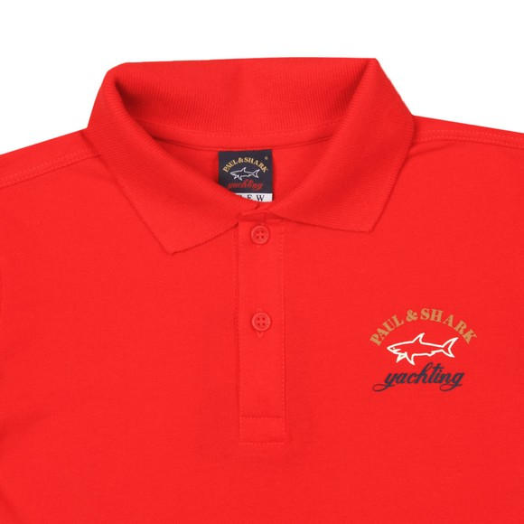 Paul & Shark Cadets Boys Red Printed Logo Polo Shirt