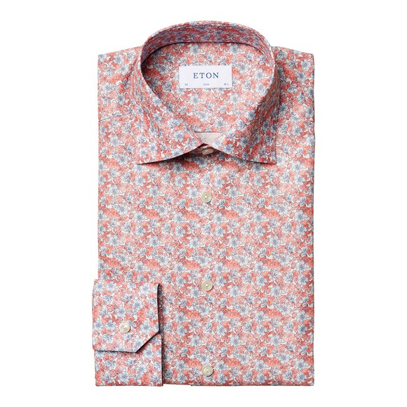 Eton Mens Red Floral Print Shirt