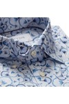 Eton Mens Blue Signature Twill Flower Detail Shirt