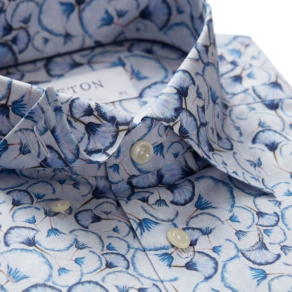 Eton Mens Blue Signature Twill Flower Detail Shirt