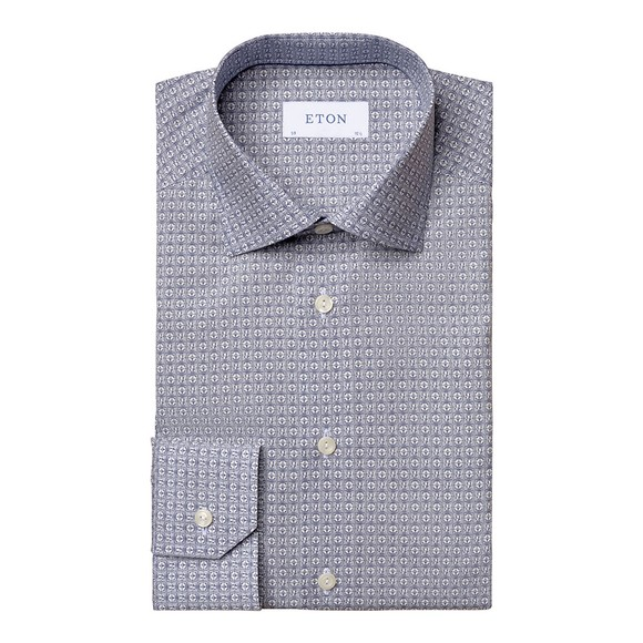 Eton Mens Blue Art Deco Print Poplin Shirt