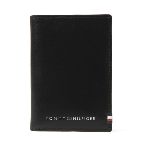 Tommy Hilfiger Mens Black Polished Leather Bifold Wallet