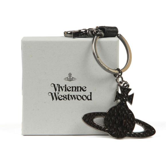 Vivienne Westwood Mens Grey Debbie Hammered Orb Keyring main image