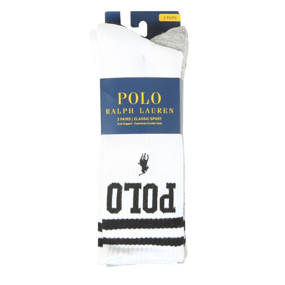 Polo Ralph Lauren Mens Black Double Stripe High Polo Logo Sock