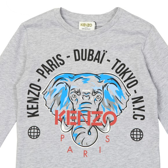 Kenzo Kids Boys Grey Kairon Elephant Long Sleeve T-Shirt