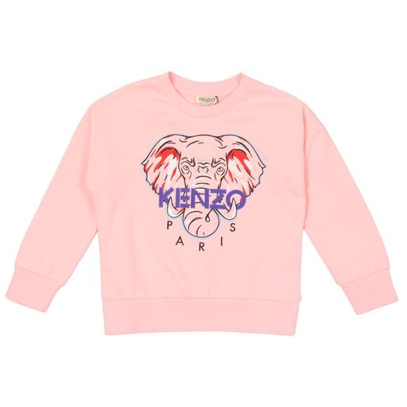 Kenzo Kids Girls Pink Kaylista Elephant Crew Sweatshirt