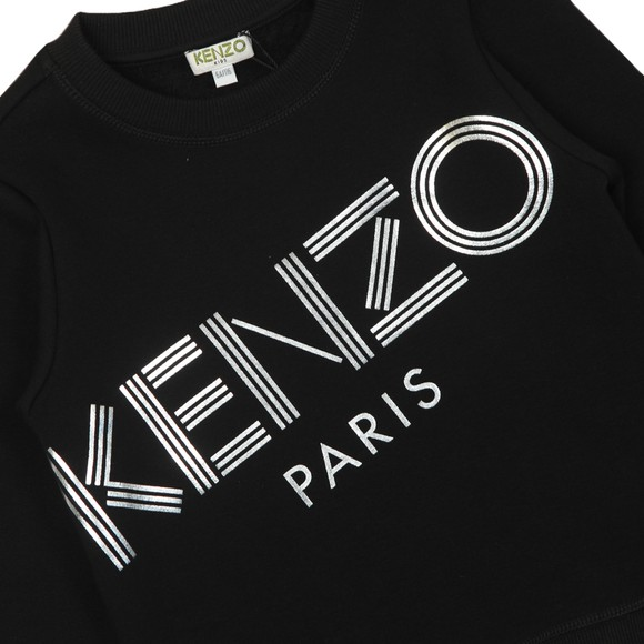 Kenzo Kids Girls Black Sport Line Crew Sweatshirt
