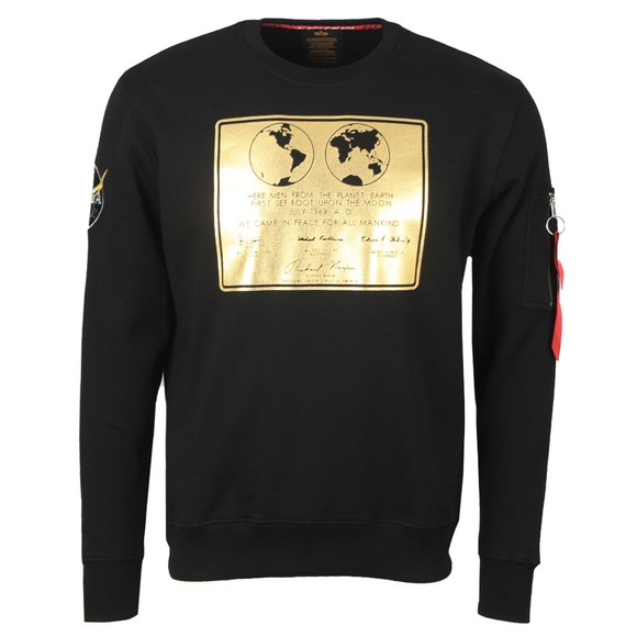 Alpha Industries Mens Black Lunar Plaque Sweatshirt