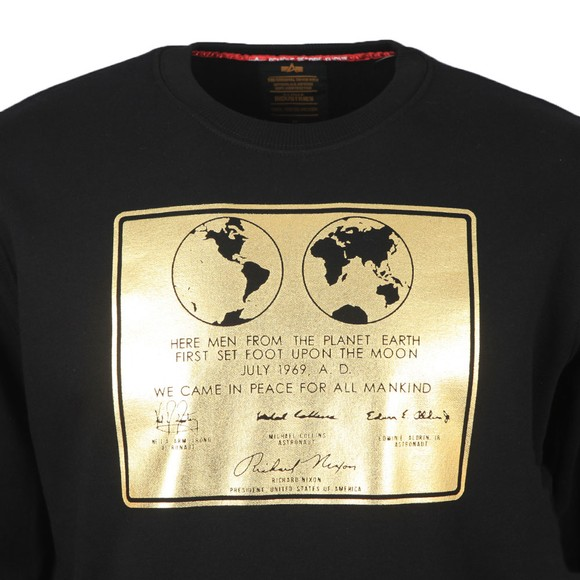 Alpha Industries Mens Black Lunar Plaque Sweatshirt