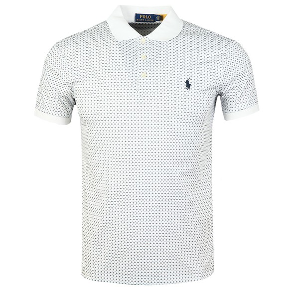 Polo Ralph Lauren Mens White Patterned Pima Cotton Polo Shirt