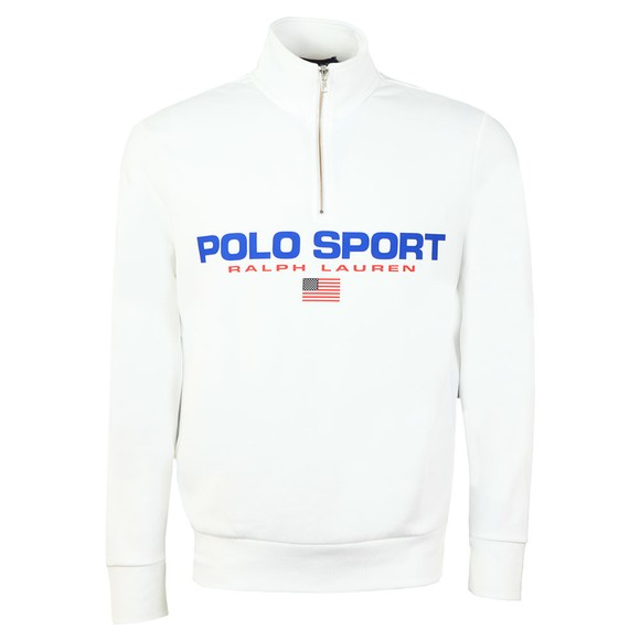 Polo Sport Ralph Lauren Mens White Logo Half Zip Sweatshirt