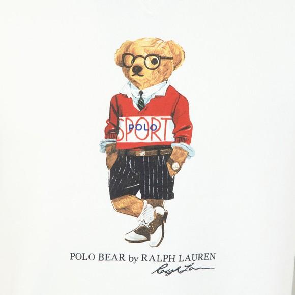 Polo Bear By Ralph Lauren Mens White Prepster Bear Sweatshirt
