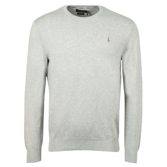 Polo Ralph Lauren Mens Grey Crew Neck Cotton Knitted Jumper